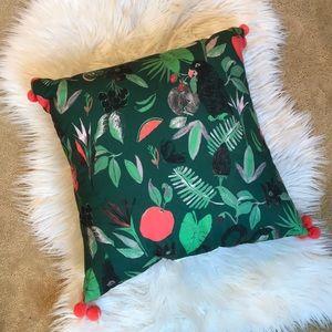 Target green/coral tropical print pillow 18x18